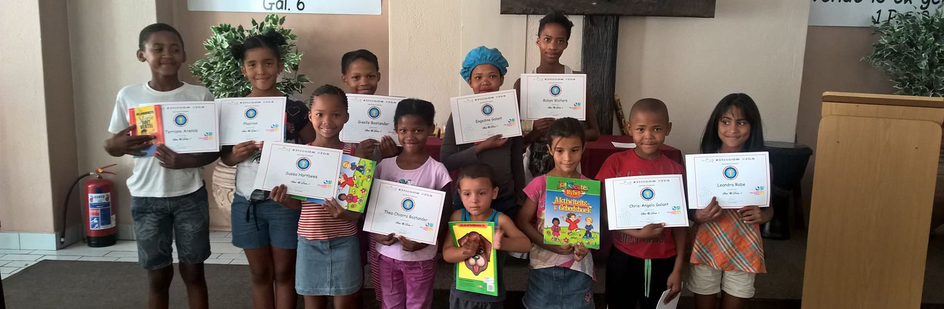 Children with their certificates